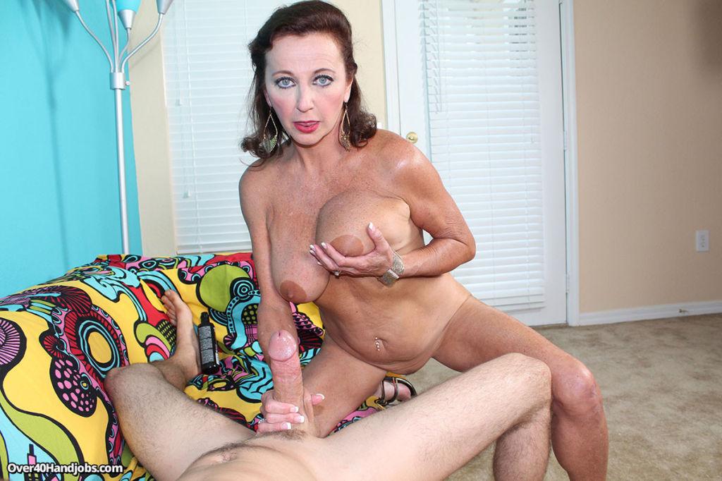 Horny milf Ciara moaning while stroking big cock