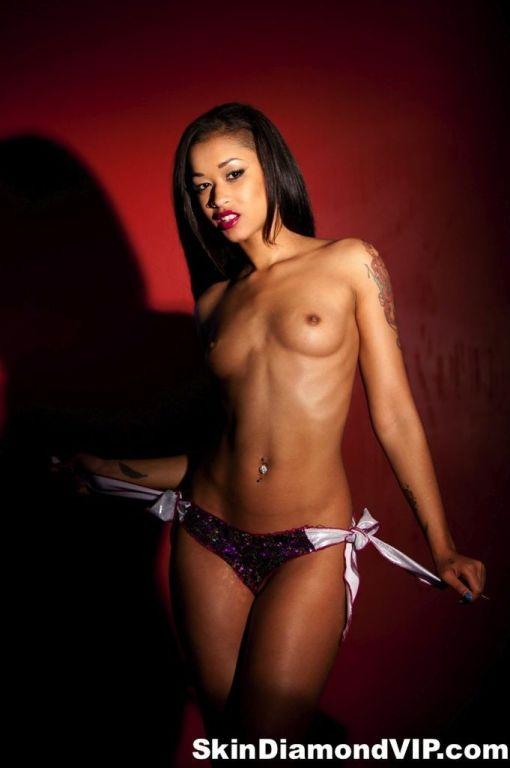Exotic goddess Skin Diamond in a bikini