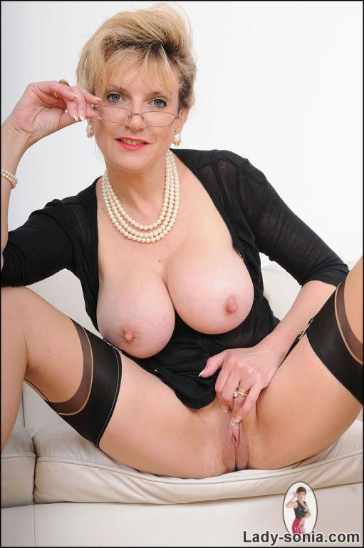 Busty stockings stunning mature Lady Sonia