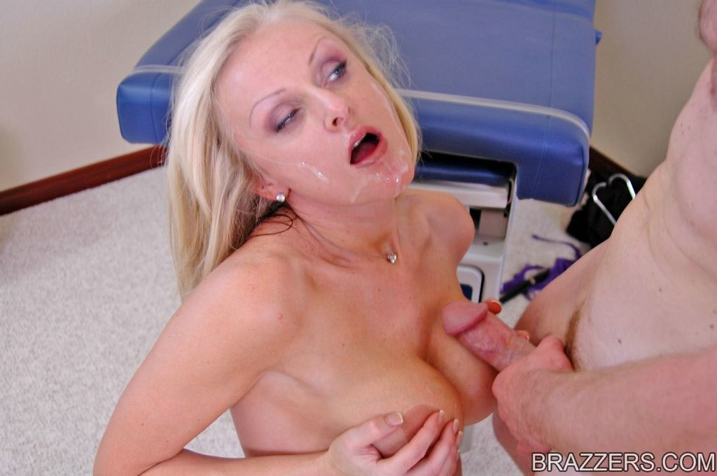 Perfect titted blonde doctor gets hard cock