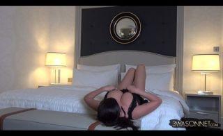 Busty centerfold Ewa Sonnet posing in sexual linge