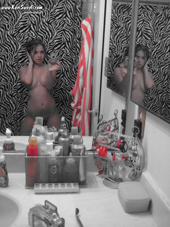 Amateur teen selfshot showering