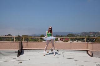 Redhead teen tease outdoors