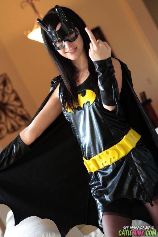 Batgirl Cosplay Catie Minx Flips The Finger And Fl