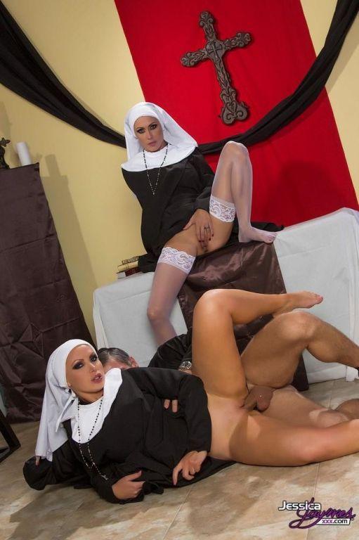 Jessica Jaymes and Nikki Benz nun threesome