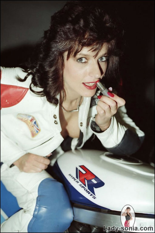 Motorbike retro leather leggy milf Lady Sonia