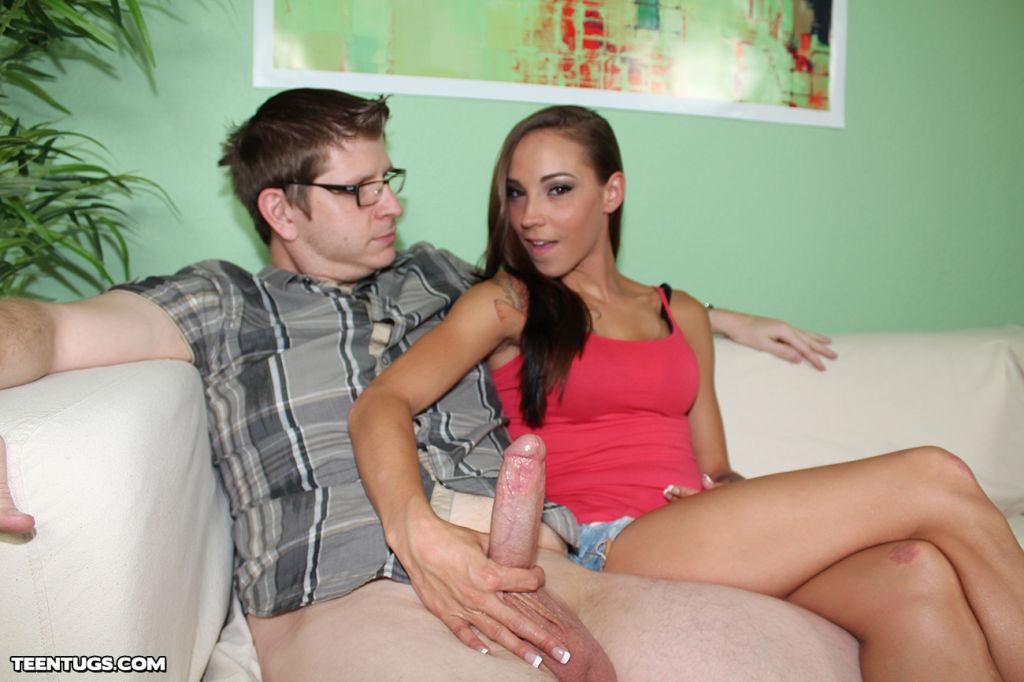 Teen slut Sasha stroking her boyfriend