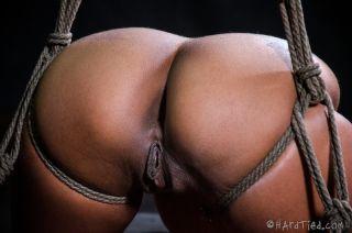 Skin Diamond redhead rope bound in dungeon her ass