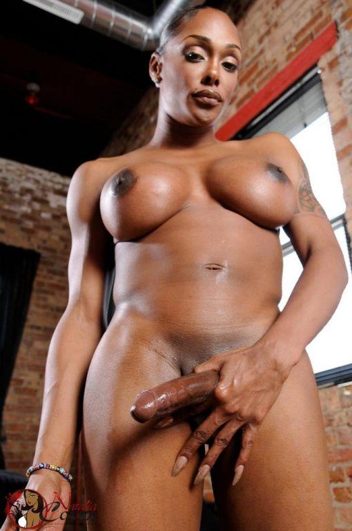 Black TS Natalia Coxxx stroking her big cock