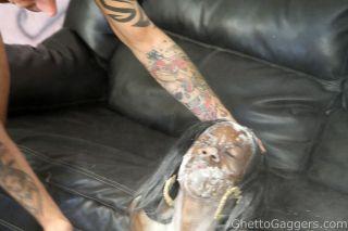 Ebony slut gags and pukes from rough blowjob