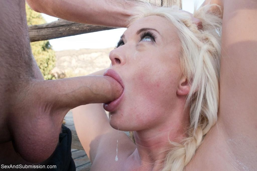 Two beautiful slave girl are tied up and fucked ou