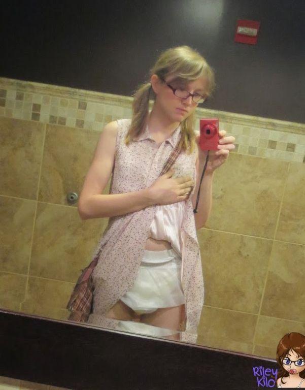 Fetish TS Riley wearing diapers in public