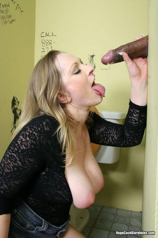 Busty cutie Vicky Vixen sucks bigcock at gloryhole