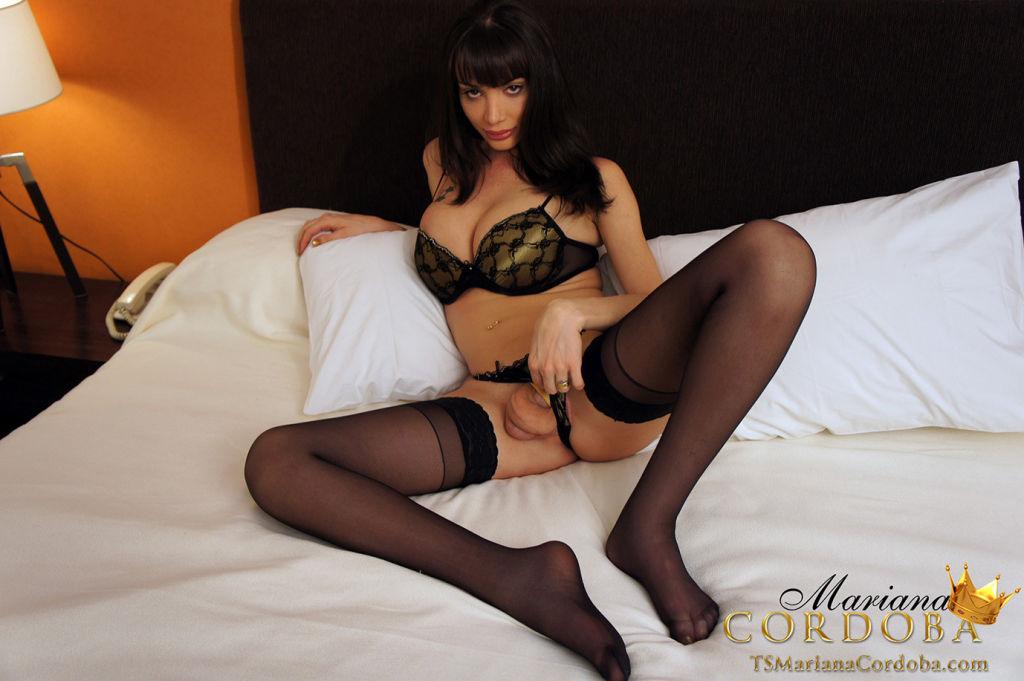 Busty Tranny Mariana Cordoba in sheer black stocki