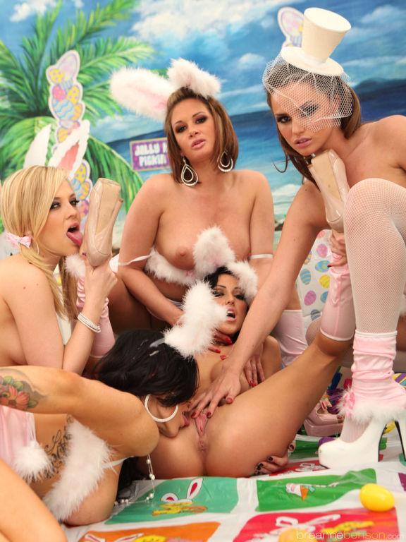 Breanne Benson lesbian gang bang Easter special