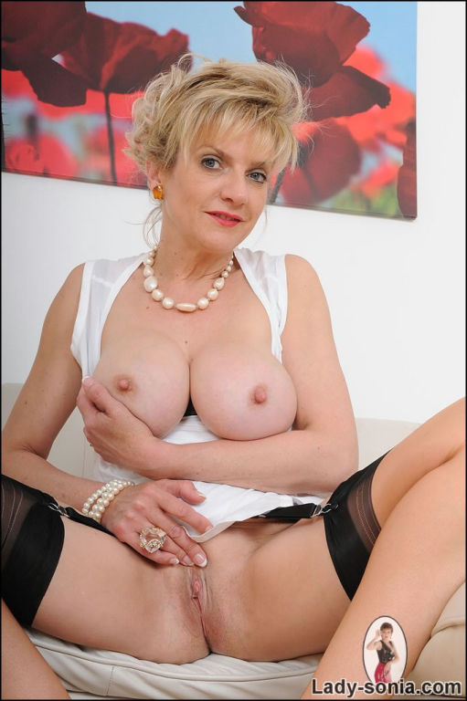 Hot nylons mature secretary Lady Sonia strips and