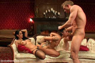 Skin Diamond is bound and strapon fucked by couple