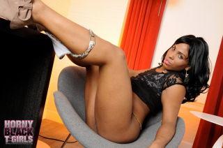 Ebony TS sweetie Myla West posing her hot body