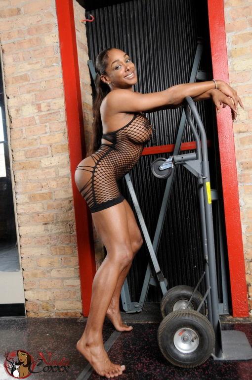Ebony Natalia posing in fishnet