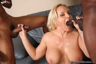 Busty blonde milf Alexis Golden on black big cocks