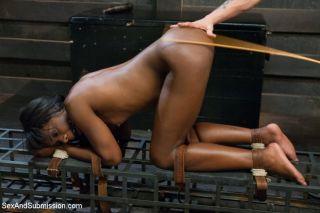Ebony girl gets bound and fucked