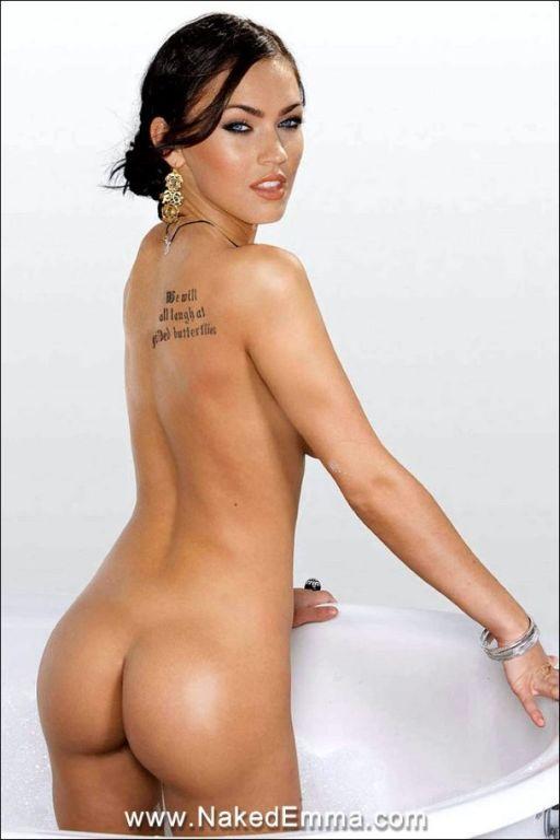 Megan Fox  posing nude in bath  see her perfect nu