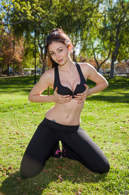 Busty girl stretching