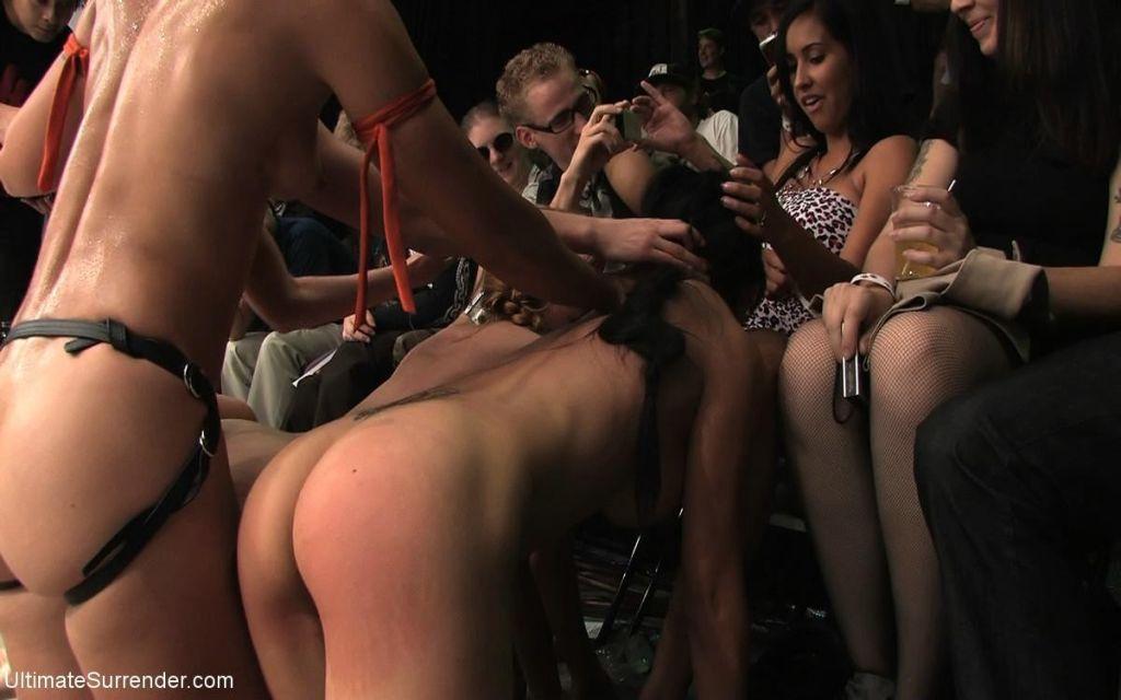 Brutal naked tag team wrestling live audience!
