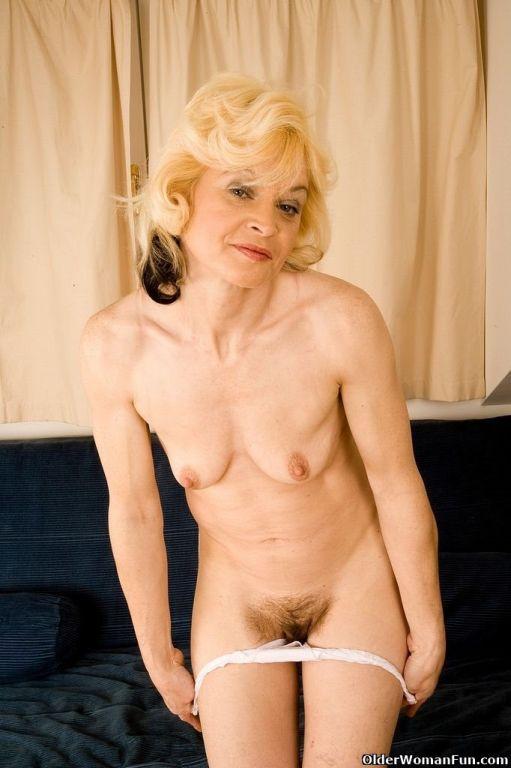 Blonde milf Hannah spreads hairy pussy