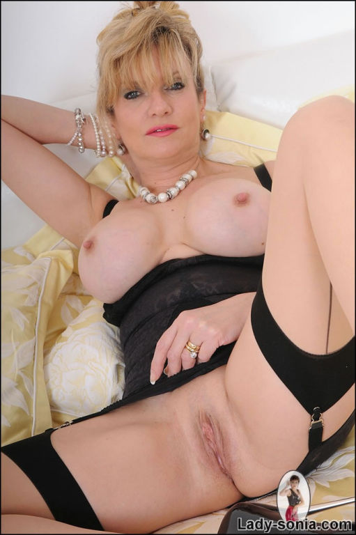 Classic lingerie busty mature babe Lady Sonia