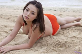Busty japanese Ai Shinozaki posing in red bikini a