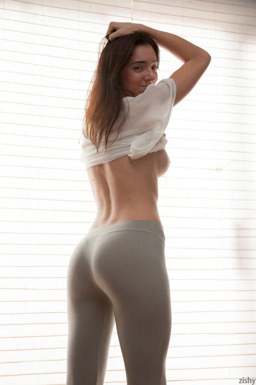 Teen in yoga pants