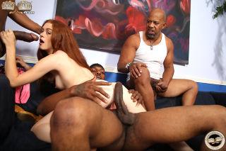 Alice Green enjoys interracial foursome in front o