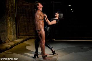 Bobbi woman handles his sexy oiled up body spankin