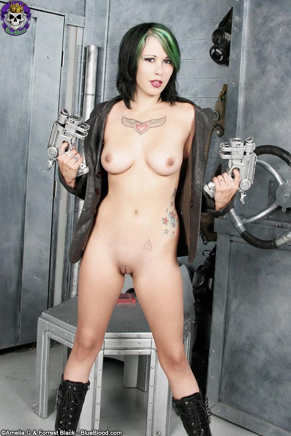 Babe masterbating with gun