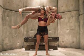 Chanel Preston and Ariel X femdoms dominate slave