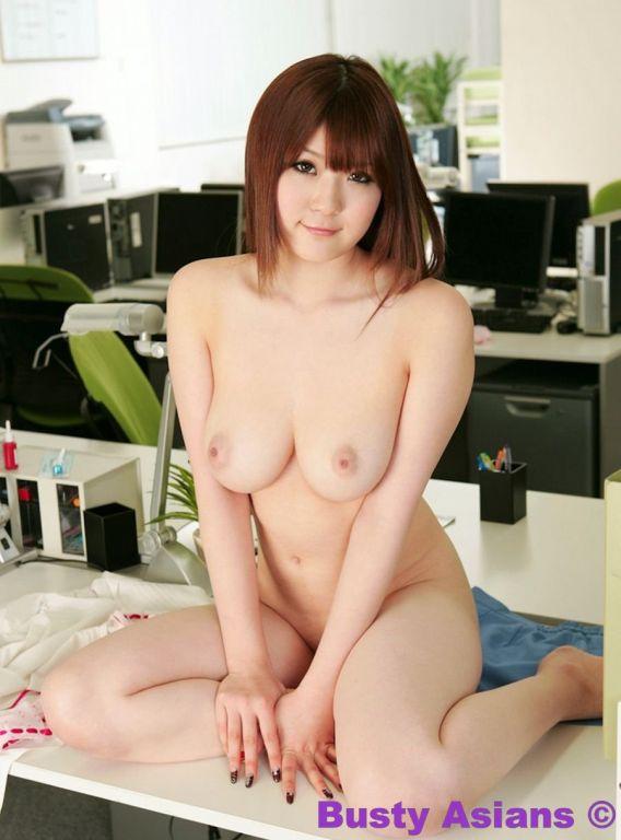 Busty asian Momoka Nishina posing in lingerie