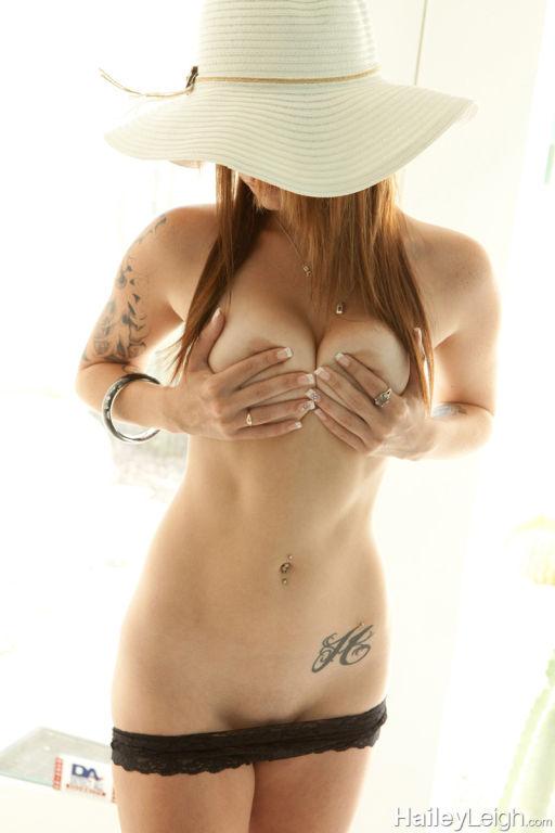 Sweet brunette Hailey teasing in her sun hat