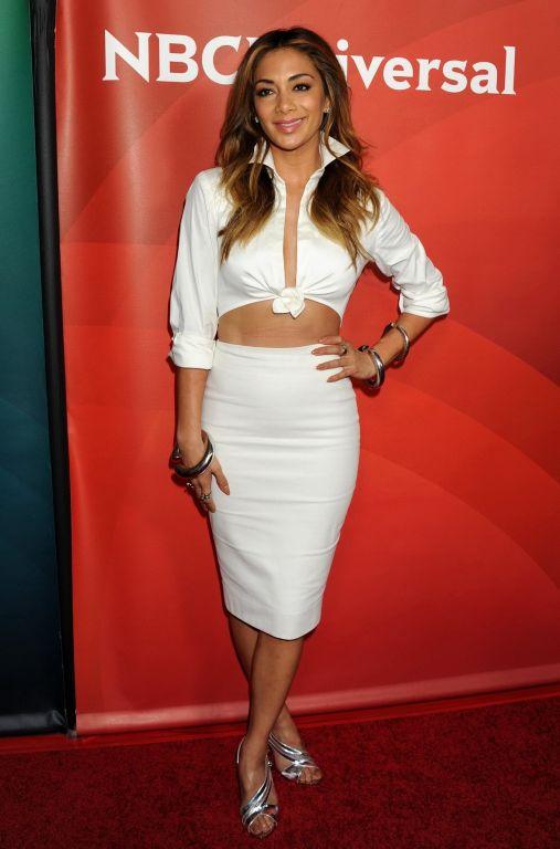 Nicole Scherzinger braless wearing skimpy white dr