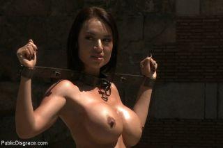 Franceska Jaimes is public caned in bondage and fu