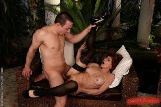 Katala granny in black lingerie and stockings fuck