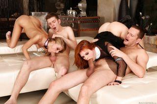 Steaming hot kicky sluts enjoy a fervent interraci