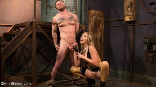 Maitresse Madeline Marlowe femdom gives dick a les