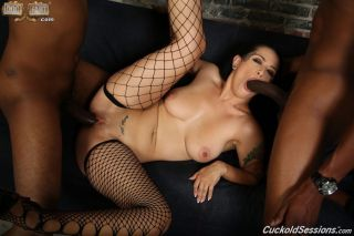 Katrina Jade enjoys two big black cocks in sex act