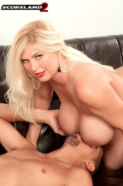 Blonde pornstar Kelly Christiansen sucking hard co