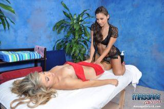 Sexy brunette massage therapist Celeste gives a li