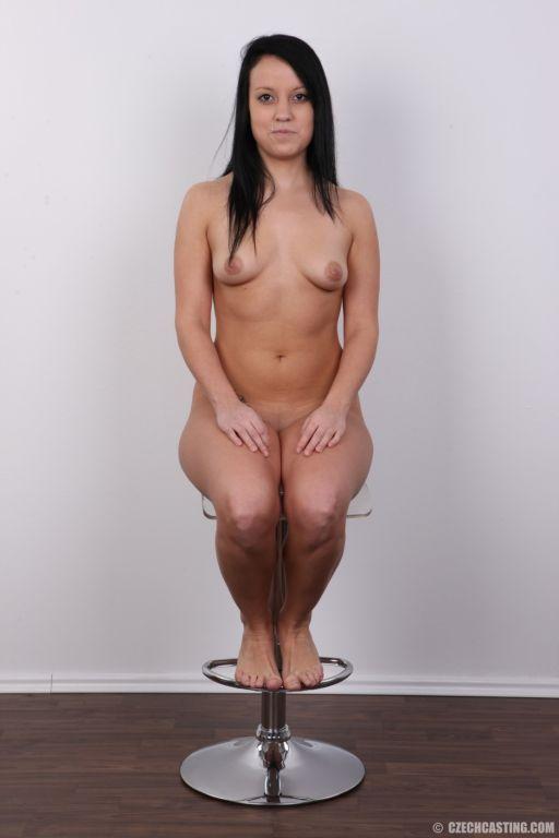 Amateur brunette in casting scene