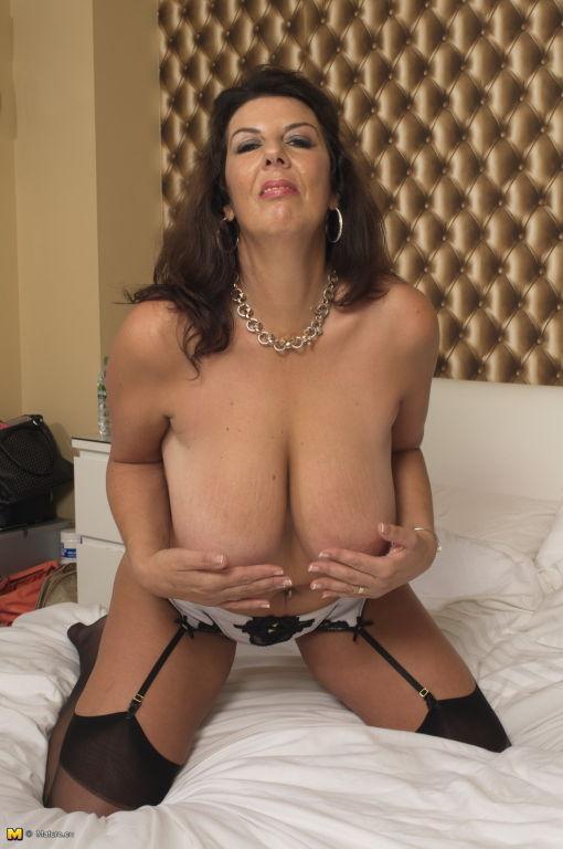 Big breasted British mature slut getting horny
