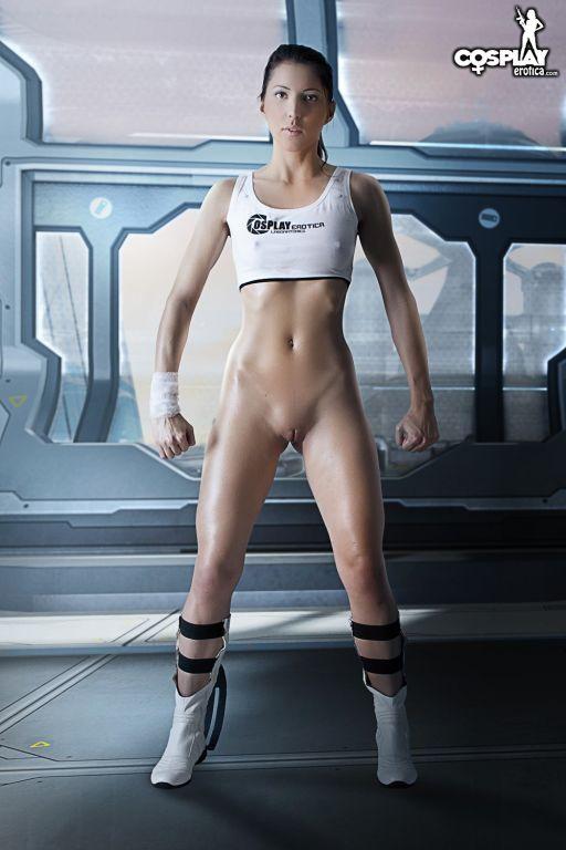 CosplayErotica  Chell Portal nude cosplay