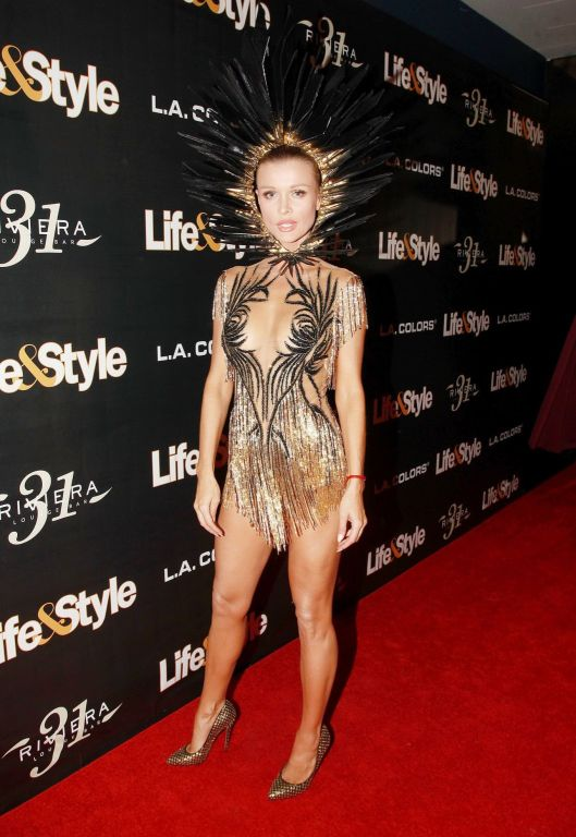 Joanna Krupa braless in tiny sheer mini dress